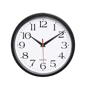 ZYUEER Horloge Murale silencieuse Noir, Plastique Metal, Approx 25.4cm X 25.4 cm Pas Cher (Noir)