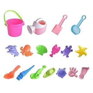 13.10.17 pièces de jouets de plage – Seau avec passoire, pelle, râteau, arrosoir, animal et seau de plage (17 pièces)