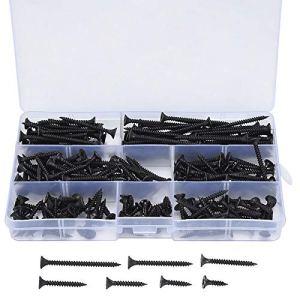 230 kits de vis à bois auto-foreuses à filetage grossier M3.5, Vis à tôle à tête cylindrique Sheetrock – 3.5mm x (16/20/25/30/35/40/50 mm)