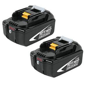 2X Dosctt BL1850B 18V 5.0Ah Batterie de remplacement pour Makita BL1850 BL1860B BL1860 BL1840 BL1845 BL1835 BL1830 BL1815 LXT-400 avec indicateur