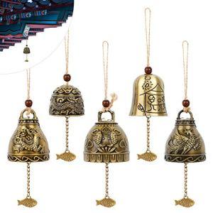 5 Pcs Bénédiction Carillon À Vent Cloche de Bénédiction Feng Shui Carillons Campanule Carillons à Vent Fengshui Bells Bouddha Carillon à Vent Phoenix Carillon à Vent en Métal pour la Maison et Jardin