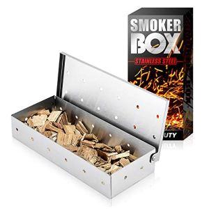 Acier Inoxydable Fumé Boîte,fumoir de Table,Generateur Fumée Froide,Boîte De Fumoir-Fumoir Boîte BBQ en Acier Inoxydable Fumé Boîte Barbecue Grill Boîte à Fumage Accessoire de Barbecue à Gaz