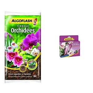 ALGOFLASH Terreau Orchidées, humidité optimale, 6 L, ATORCH6 & Monodoses Revitalisantes Orchidées, 5 doses, MONORCHID 30 ml Violet