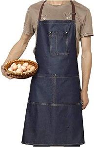 ALIHONG Tablier – Tablier de cuisine en denim réglable Tabliers de chef pour hommes pour la cuisine à domicile, le restaurant, le café et le bistro