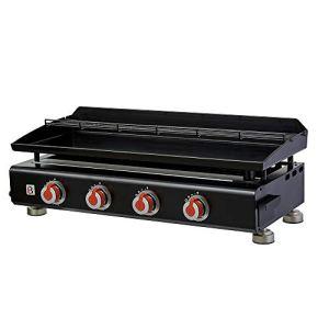 BRASERO – Plancha Silvia II G 4 Feux Surface Cuisson 84 x 34 cm – 4 brûleurs – Plaque Acier émaillée – Grille de réchauffement – Piezo intégré – Tiroir Graisse – Jusqu'à 12 convives – 10 KW