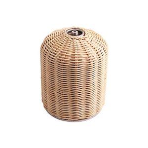 Breale Cylindre en rotin fait à la main 450 g de gaz, protection anti-collision pour camping de plein air beige