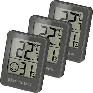 Bresser Temeo Hygromètre Lot de 3 thermomètres à poser ou à fixer au mur avec indicateur de température ambiante, gris