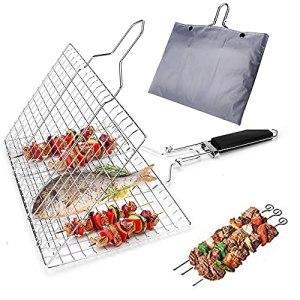 BRONG Panier de barbecue portable en acier inoxydable pour légumes, poissons, crevettes, steak avec poignée en bois, 4 brochettes
