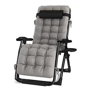 BSQT Chaise rembourrée de Salon Noir Zero Noir surdimensionnée, accoudoir Pliable, chaises à Bascule de terrasse avec Patins (Color : Grey)