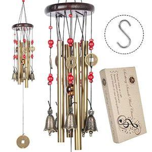 BWINKA Chinois Traditionnel étonnant 4 Tubes 5 Cloches Bronze Jardin Jardin Extérieur en plein air carillons 60cm