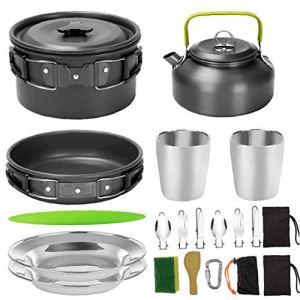 Camping Pot Barbecue Poêle de pique-nique portable Batterie de cuisine Gear Set légère pour 2 à 3 personnes voyageant Trekking Camping Noir Accessoires pour barbecue