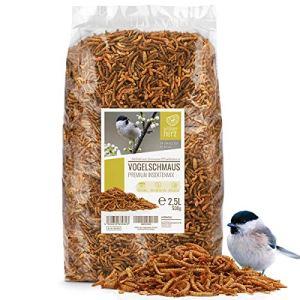 Coeur d'animal Sauvage | Fête des Oiseaux – Nourriture pour Oiseaux de Première Qualité – 2,5 litres vers de Farine Séchés d'oiseaux