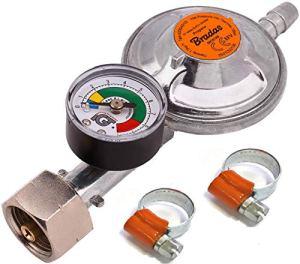 Détendeur de gaz propane butane 37 mbar 1,5 kg/h avec valve d'urgence et jauge + 2 colliers de serrage I pour tuyau de 9 à 10 mm I parfait pour barbecue, camping, caravane, plombier