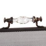 Dibor Portable Verre à Manche en métal Noir Foyer Protection d'écran à partir de Sparks