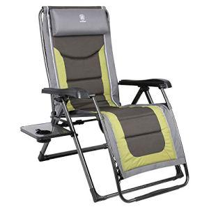 EVER ADVANCED Chaise longue rembourrée XL Zero Gravity avec appuie-tête réglable et support 159 kg Vert olive