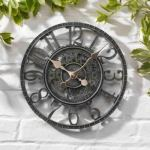 Ewepdwo Horloge Murale de Jardin extérieur Grand 30 cm engrenage Creux Vintage Effet Ardoise étanche extérieur intérieur Jardin Horloge Murale décorative clôture Jardin Ornement