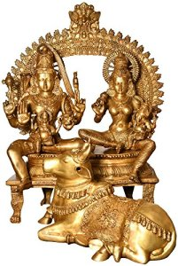 Exotic India Grande Shiva Famille avec Nandi, Jaune, Taille: 106,7x 136,4x 53,3cm