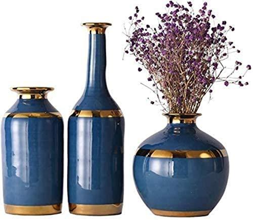 GAOYINMEI Table Basse Vase Vase Vases en céramique Fait Main Mariage hydroponique Fleur Plante en Pot 3 pièces Ensemble Florale Restaurant Salon Chambre Décorations