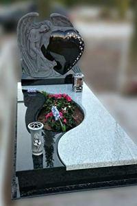 generisch Pierre tombale, pierre funéraire double tombe ange avec cœur
