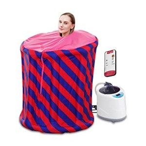 GJXJY Machine à Vapeur Domestique, 2L Machine à Vapeur de Sauna Portable avec Réglage De La Température De 9 Fichiers, Minuteur et Télécommande, 2L Ensemble de Vapeur Pliant