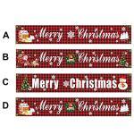 Grand panneau de bannière de joyeux Noël à carreaux noir rouge avec motif d'arbre de Noël du père Noël, 9,8 «× 1,64» Décorations de Noël bannière drapeau lettre de dessin animé imprimée, étanche