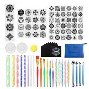 GuangHuan Lot de 93 stylos à pointiller mandala pour peindre des pierres de roche en acrylique