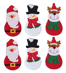 Gwill Lot de 6 pochettes pour couverts de Noël Motif Père Noël, bonhomme de neige, renne, couteaux, fourchettes, sacs à couverts