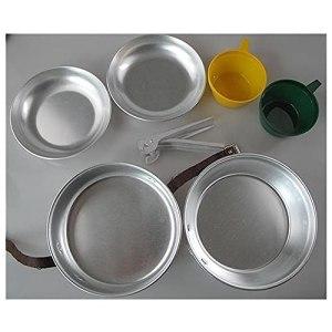 HCHL Pots antiadhésifs Camping Cookware Kit, Poids léger en Aluminium en Aluminium en Aluminium 2 Personne Cook Set Camping Cuisson Pan Ensembles de poêle avec Coupe PP pour Tous Les poêles