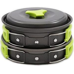 HCHL Pots antiadhésifs Camping Cookware Pan, Camping Cookware Kit, Cuisine d'extérieur Pan Pot Bol Cuillère Ustensiles à Fourche pour randonnée Pique-Nique Voyage Wild Campismo pour Tous Les poêles