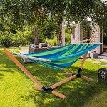 IDMarket – Hamac Cuba avec Support Bois et Toile rayée Bleue et Verte