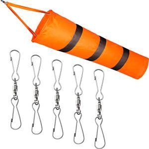 Kit de Manche à Air Pince Double Pivotante 1 Pièce Manche à Air d'Aéroport Manche à Air Orange avec Ceinture Réfléchissante et 5 Pinces Doubles Pivotantes pour Indiquer Direction et Force de Vent