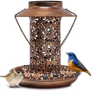 L'alimentateur à oiseaux avec une lumière solaire pour l'extérieur, l'ornement d'ornement jardin d'oiseau métallique pour maison d'alimentation maison en plein air pour jardin d'éclairage décoratif