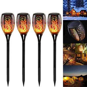 Lampe Torche de Jardin, Swonuk 4 Pack LED Lumières Solaire Flammes Torche Etanche IP65 Lampe Torche de Jardin Décor Lampe & Solaire Lumière Lampe Décoration de Jardin/Chemins/Yard