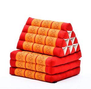 Leewadee Tapis de Sol – Matelas avec Coussin en kapok, lit thaïlandais Fait à la Main, 3 éléments pliants, 170 x 53 cm, Orange Rouge