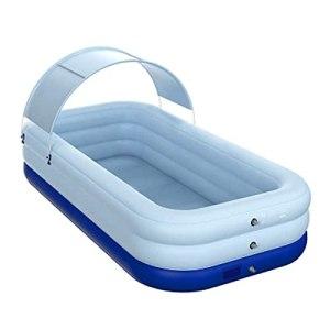 LUDAXUE Piscine Gonflable Piscine Gonflable sans Fil pagaie Gonflable Pliable sans Fil avec Pare-Soleil en PVC étanche Estival adapté au Jardin d'eau de Jardin en Plein air (Color : Bleu)