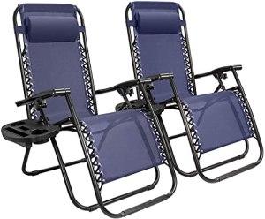 LUGEUK Zool Gravity Chair Ensemble de 2 chaises Longues de Camping-Salon au Camp extérieur Chaise de Patio avec Oreiller réglable 2 Pack (Bleu)