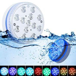Lumière LED Submersible GolWof 8.5CM 13 LED Lumières Sous-marines avec Télécommande RF RGB 16 Couleurs Lumières de Baignoire Magnétique pour Aquarium Vase Bain Piscine Fête- 2 Pièces