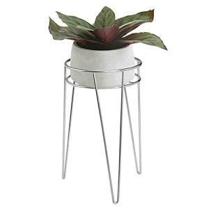 mDesign Midcentury Support Pot de Fleurs Moderne en métal – Support pour plantes d'intérieur & extérieur de forme ronde – Porte pot de fleurs sur pied, jardinière vintage – Argenté