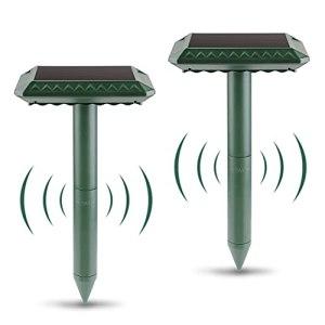 Migimi Lot de 2 répulsifs solaires anti-taupes – Répulsif à ultrasons – Répulsif contre les parasites – Étanche – Anti-rongeurs – Pour l'extérieur – Pelouse, cour de jardin