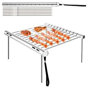 MojiDecor Barbecue Grilles, Barbecue en Acier Inoxydable Barbecue Portable Camping Barbecue Grill Pliable Compact Camping Grill pour Camping, Randonnée, Pique-Nique