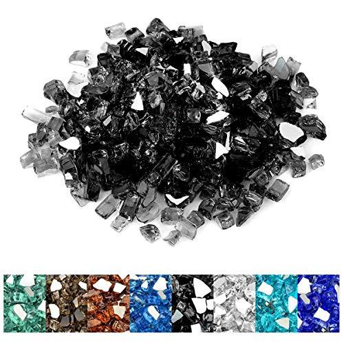 onlyfire 4,5 kg Verre trempé réfléchissant pour foyer naturel ou propane et aménagement paysager, 0,6 cm de haut, noir onyx