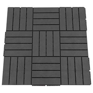 Outsunny Caillebotis – Dalles terrasse – Lot de 9 – emboîtables, Installation très Simple – Petits Carreaux Composite Plastique Imitation Bois Noir