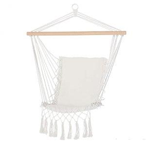Outsunny Chaise Suspendue Chaise hamac de Voyage Portable Assise Dossier rembourrés macramé Coton Polyester Beige