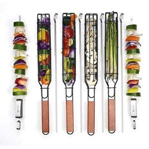 Panier à griller léger, revêtement antiadhésif robuste en acier inoxydable avec grille verrouillable et poignée en bois, brochettes pour barbecue 48,3 x 5,1 x 4,1 cm