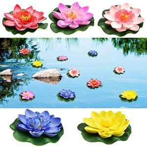 PEFRETSELL 5 pièces Nénuphar artificiel nénuphar flottant nénuphar plantes étang rose 10cm Différentes couleurs EVA mousse fleurs fleur de lotus pour aquarium terrasse jardin piscine jardin étan
