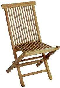 PEGANE Lot de 2 chaises Pliantes pour Jardin en Bois Teck Coloris Naturel – Dim : 91 x 46 x 61 cm