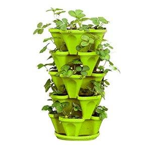 Planteur de fraises Pot d'empilage de 4 pots pour la literie de fleurs d'herbes Jardinière empilable de jardin pour la culture d'herbes, de légumes Tour de jardinage à 5 niveaux avec plateau,Vert
