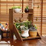 QINGJIA Support de Pot de Fleur, Bureau Moderne Petite Plante Stand de Plante en Bois Multi-Tier Succursier Établissement Échelle de l'échelle de fenêtre de vignoble en enrobée Stand Stand Decoration