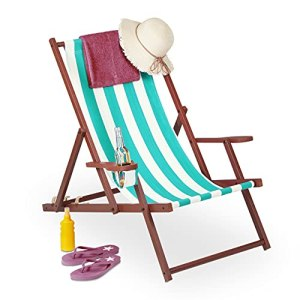 Relaxdays Chaise Longue Pliable, Lot de 2, Bois et Tissu, 3 Positions, accoudoirs, transat, 120 kg, Blanc/Bleu