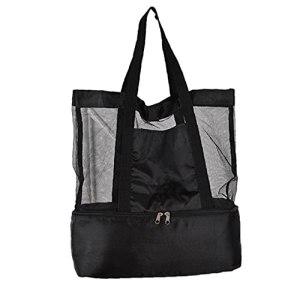 Sac de pique-nique de plage sac fourre-tout avec réfrigérateur Mesh Cooler compartiment à glissière sac de rangement pour les fournitures Noir ménage Voyage d'été